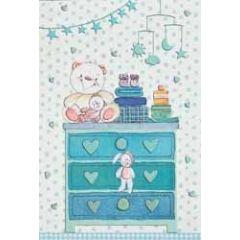 geboortekaartje - commode met knuffels - blauw