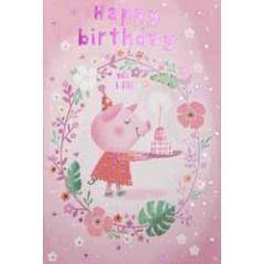 verjaardagskaart - happy birthday make a wish - biggetje met taart