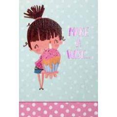 verjaardagskaart pinki - make a wish... - cupcake