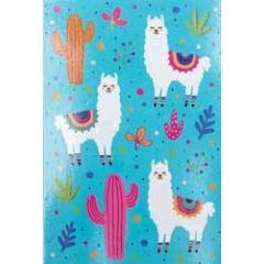 wenskaart lama - cactus blauw