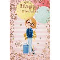 verjaardagskaart - happy birthday - meisje met bril en ballonnen