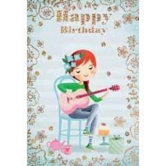 verjaardagskaart - happy birthday - meisje met taart en gitaar