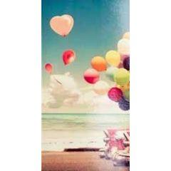 wenskaart - cadeau envelop - ballonnen achter retro auto