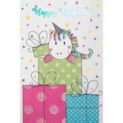 verjaardagskaart - happy birthday - eenhoorn en cadeautjes