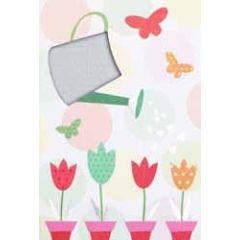 wenskaart - gieter en tulpen