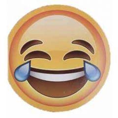 ronde wenskaart emoji smiley - huilen van het lachen