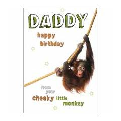 verjaardagskaart woodmansterne - daddy happy birthday from your little monkey - aap