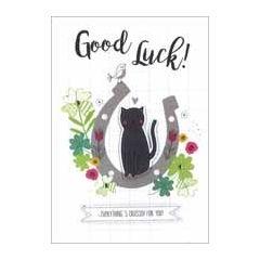 wenskaart - good luck everything is crossed for you! - zwarte kat, hoefijzer, klavertje vier
