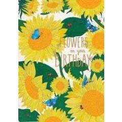 verjaardagskaart roger la borde - flowers on your birthday - zonnebloemen