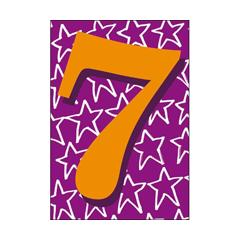 7 jaar - verjaardagskaart woodmansterne- oranje paars