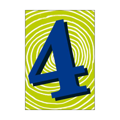 4 jaar - verjaardagskaart woodmansterne - groen blauw