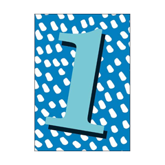 1 jaar - verjaardagskaart woodmansterne - blauw