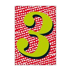 3 jaar - verjaardagskaart woodmansterne - groen rood