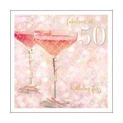 50 jaar - verjaardagskaart woodmansterne esprit - fabulous at 50 birthday fizz - cocktail