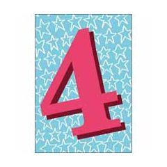 4 jaar - verjaardagskaart woodmansterne - blauw rood