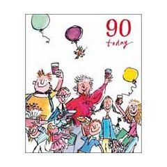 90 jaar - grote verjaardagskaart quentin blake - 90 today - veel mensen