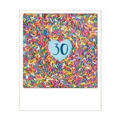 30 jaar - ansichtkaart instagram - gekleurde hagelslag