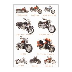 wenskaart clanna cards - dyna wide glide, road king classic, fat bob - motoren