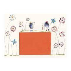 wenskaart met cadeau envelop klara de kraai - bloemen