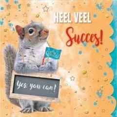 wenskaart cuddles - heel veel succes! yes, you can! - eekhoorn