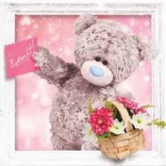 me to you 3D wenskaart - bedankt - mand met bloemen
