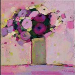 bloemenkaart woodmansterne - bos bloemen op vaas - paars roze