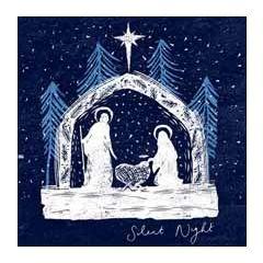 5 christelijke kerstkaarten woodmansterne - silent night - kerststal