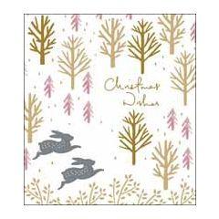 5 kerstkaarten woodmansterne - christmas wishes - konijnen in bos