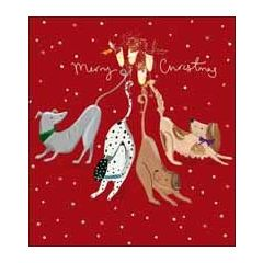 5 kerstkaarten woodmansterne - merry christmas - honden met champagne