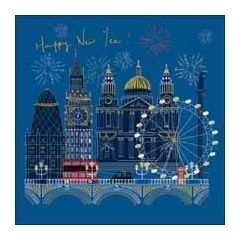 luxe nieuwjaarskaart woodmansterne - happy new year! - vuurwerk londen