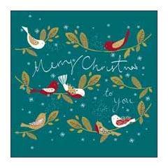 luxe kerstkaart woodmansterne - merry christmas to you - vogels
