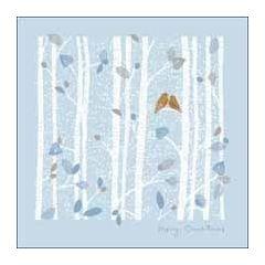 luxe kerstkaart woodmansterne - merry christmas - bomen met vogels