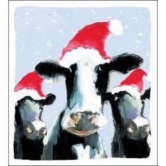 5 kerstkaarten woodmansterne - koeien met kerstmuts