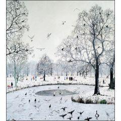 5 kerstkaarten woodmansterne - park met vijver in wintersfeer vogels
