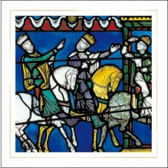 luxe christelijke kerstkaart woodmansterne - drie koningen volgen een ster