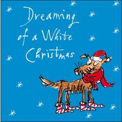 luxe kerstkaart woodmansterne - hond met kerstsokken en muts - dreaming of a white christmas