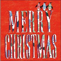 5 kerstkaarten woodmansterne - merry christmas - pinguins op letters