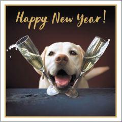 luxe nieuwjaarskaart woodmansterne - hond met champagneglazen - Happy New Year
