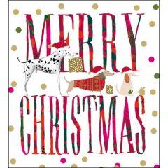 5 kerstkaarten woodmansterne - drie honden teckel - Merry Christmas