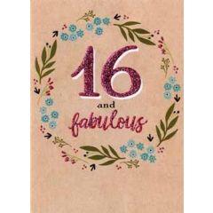16 jaar - verjaardagskaart - 16 and fabulous