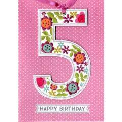 5 jaar - verjaardagskaart -  5 happy birthday roze