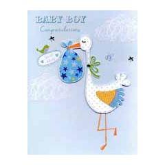 grote geboortekaart A4 - baby boy congratulations - ooievaar