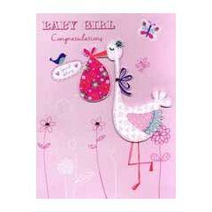 grote geboortekaart A4 - baby girl congratulations - ooievaar