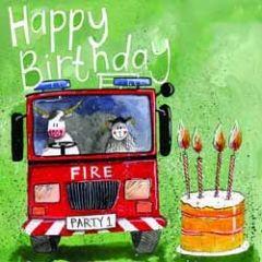 verjaardagskaart alex clark - happy birthday - brandweerwagen