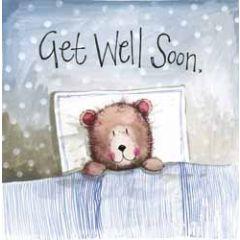 beterschapskaart  - alex clark - get well soon - beer in bed