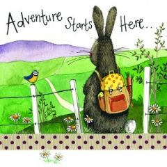 wenskaart alex clark - adventure starts here - konijn met rugzak