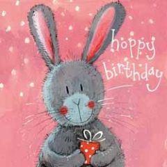 verjaardagskaart alex clark - happy birthday - konijntje met cadeau