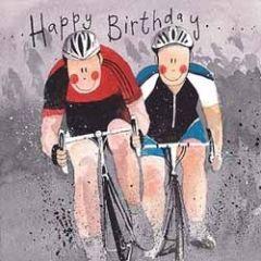 verjaardagskaart alex clark - happy birthday - wielrenners fietsers