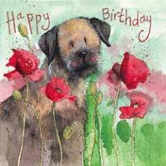 verjaardagskaart alex clark - happy birthday - hond en papaver