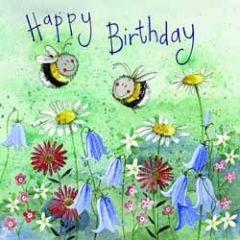 verjaardagskaart alex clark - happy birthday - bijen en bloemen